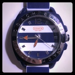 Coach blue and white striped watch